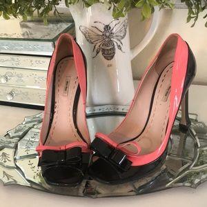 Miu Miu double bow peep-toe high heels